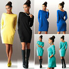 Women Fashion Jumper Mini Dress Casual Party Pullover Sweatshirt Pocket Long Top