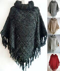 Women Poncho Batwing Braided Cable Knit Top Cape Cardigan Sweater Coat Outwear