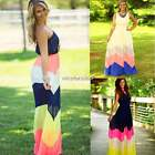Summer Womens Striped Evening Party Cocktail Long Maxi Dresses Beach Dress N4U8