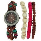 Kahuna Ladies Brown String Bead Bracelet Watch Toggle Pull Closure AKLF-00011L