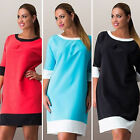 Plus Size Womens Loose 3/4 Sleeve T-shirt Mini Dress Casual Pullover Sweatshirt