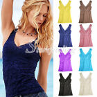 Sexy V Vest LACE Stretch HALTER TANK TOP Open Back Sleeveless Layering Basic TEE