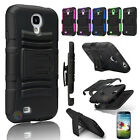 Rugged Hybrid Case Cover + Belt Clip Holster For Samsung Galaxy S4 S IV i9500