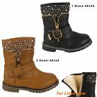 GIRLS BOOTS KIDS INFANTS SHOES WINTER SNOW WARM ZIP FUR LINED BUCKLE BOOT SIZES