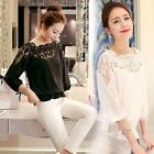 Womens Ladies Long Sleeve Loose Chiffon Blouse Casual Shirt Lace Tops Elegant