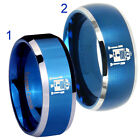 Tungsten Star Wars R2D2 8MM Blue Bevel Edge Satin Dome Ring Half Size