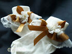 Unique Baby Girls Socks Cream Gold Satin Lacy Frilly Socks Various Sizes