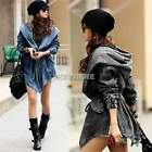 Women`s Denim Jacket Outerwear Trench Women Jean Hooded Jeans Coat Windbreaker K