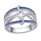Blue Wide Wedding Band Gemstone Ring For Women 925 Sterling Silver White AAA Cz