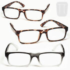 3 PAIRS New Ready Rimmed READING GLASSES - Grey/Tortoiseshell 1.5+2.0+2.50+3+3.5