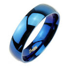 Stainless Steel Blue Plain Wedding Band Ring 6mm or 8mm Size 5-13