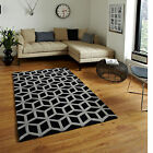SMALL MEDIUM LARGE QUALITY MODERN BLACK GREY 1-2 CM THICK HONGKONG ACRYLIC RUG