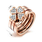 3 in1 Clover Ring Sets Size 5-9 Cubic Zircon 10Kt Rose Gold Filled Wedding Free