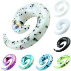 Purple White Acrylic Spiral Snail Taper Ear Stud Flesh Tunnel Gauges Expander