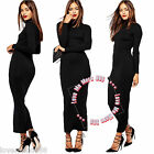 New Womens High Neck Long Sleeves Tunic Maxi Dress Evening Cocktail Casual BLACK