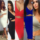 New Sexy Bodycon Dresses Womens LONG SLEEVE Cut out Backless Bandage Midi Dress