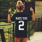 Women's HATE YOU 2 Letter Print Funny Casual Black T-Shirt Short Sleeve Tee Tops