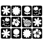 12 X Glass Etching Stencils Painting Airbrush Glitter Craft Stick On Stencil New