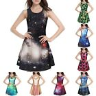 Women Girl 3D Galaxy Graphic Print Scoop Singlet Sleeveless One Piece Mini Dress