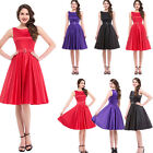 Womens Ladies Vintage Style 50s Evening Swing Skaters Dress RED/BLACK