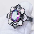 Mystic Rainbow & CZ White Opal Floral Rings Sz 6-9 Womens 10KT Black Gold Filled