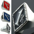 Unisex Men 1 % One Percent Outlaw 316L Stainless Steel Biker Ring Black/Blue/Red