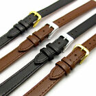 Comfortable Flexible Leather Watch Strap Band Buffalo grain Extra Long 12mm 14mm