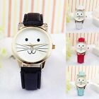 Fashion Womens Girls Cute Cat Crystal Watches Ladies Casual Leather Quartz Watch