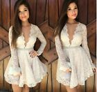 Summer Sexy Women Lace V Collar Cocktail Dresses Party Dress Clothes White Tops