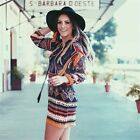 New Summer Womens Ethnic Maxi Tassel Loose Long Sleeve Tunic Shirt Beach Dresses