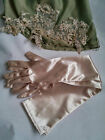 Nude gloves cappuccino blush long gloves champagne satin gloves 15inch 37cm