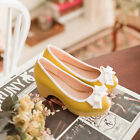 sweet bowtie slip on womens wedge pumps block heel Date shoes Yellow lotia Round