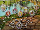 DISNEY OVAL CHARM PENDANT NECKLACE GLASS RAPUNZEL BELLE ARIEL CINDERELLA OVAL