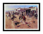 Framed Wall Art Print on Canvas Utica by Charles M Russell Western Repro Giclee