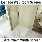L-shape Walk In Wet Room Shower Screen Cubicle Fixed Return Panel Stone Tray si