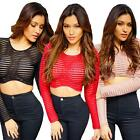 New Women Lady Sheer Striped Short T-Shirt Crop Top Long Sleeve Top Blouse W3R1