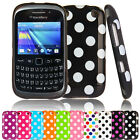 Polka Dots Silicone Back Case Cover For Blackberry Curve 9320 9220 Screen Flim