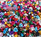 6mm 8mm 12mm 15mm Mixed Aluminum Rose Flower Spacer Beads Pick Size DIY F0-No15