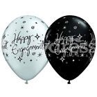 Pack of 6 Qualatex Latex Balloons Black Silver Engagement Sparkles Helium NEW