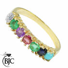 BJC® 9ct Yellow Gold DEAREST Ring Diamond Emerald Amethyst Ruby Sapphire