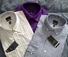 NWT Mens Dress Shirt Arrow Fitted No Iron Poplin Button Up Purple or Blue