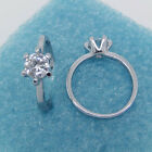 1 Pcs Silver Fashion Clear Rhinestone Zircon Round Rings Prong Style New S04