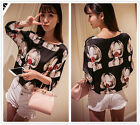 New Women's Girl Rose Casual Chiffon 3/4 Sleeve Collarless T Shirts Tops Blouses