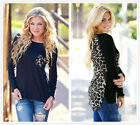 New Women's Leopard Print Close-fitting Long Sleeve T Shirt Tops Blouse S - XXL