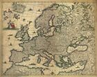 MP50 Vintage 1700's Historical Antique Old Map Of Europe Poster RePrint A1/A2/A3