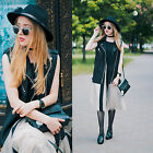 Women's Simple Fashion Sleeveless Black Round Neck Striped Casual Dress 05403