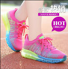 Woman's Rainbow Strips Breathable Lace Up Sports Sneakers Casual School Shoes