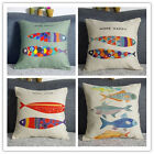 Colorful Fish & Whale Cotton Linen Pillow Cases Sofa Car Throw Cushion Cover