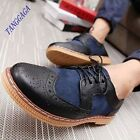 Fashion Mens Casual British Carved Wing Tip Lace Up Sports Brogue Dress Shoes