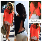 Fashion Women's Summer Tops Tee Long Sleeve Shirt Casual Blouse Loose T-shirts